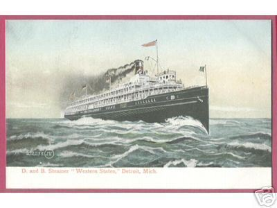 D & B Steamer Western States Ship Detroit Michigan