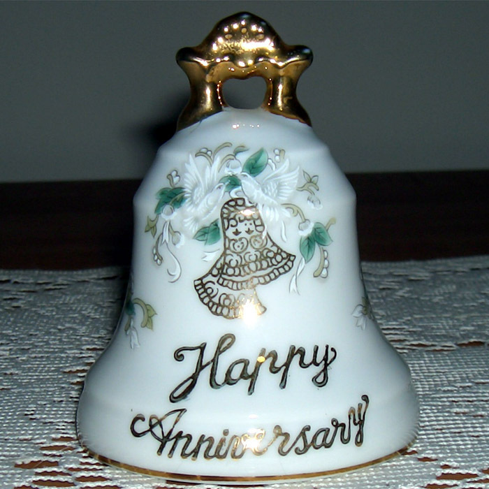 Lefton China Happy Anniv bell It's lovely!