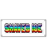 SHAVED ICE BANNER SIGN hawaiian cart stand signs - $14.19