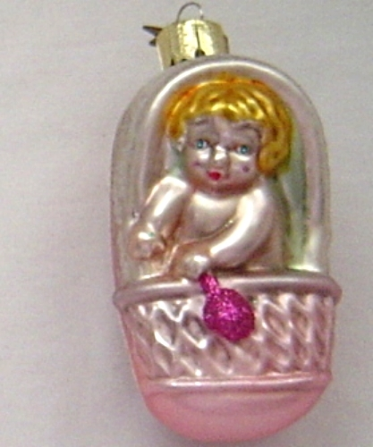Baby Girl Christening Favors Glass Ornament: Noble Gems Baby Girl Pink Carriage Hand Blown Glass