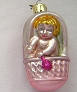 Noble Gems Baby Girl Pink Carriage Hand Blown Glass Ornament - $8.95