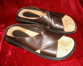 Mens Donald Pliner Brown Leather Sandals 12 M Italy - $79.99