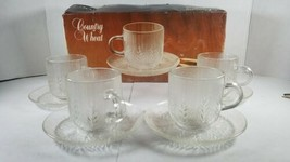 Arcoroc Country Wheat Crystal Cup and Saucer 4 Sets J G Durand  - $14.54