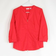 Bright orange cotton blend NEW YORK & COMPANY stretch zip front blouse S - $19.99