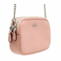 Coach Petal Pink Pebble Leather Crossbody Pouch Bag W/ Chain Strap $198 - $68.99