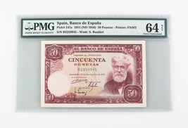 1951 (ND 1956) Spain 50 Pesetas CU-64 PMG Banco Espana Choice Uncirculat... - $178.20