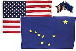 ALBATROS USA with State of Alaska 3 ft x 5 ft 3x5 Flag with Lapel Pin fo... - $31.01