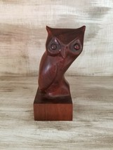 STUNNING VINTAGE DARK WOOD HAND CARVED OWL SCULPTURE STATUE FIGURE FIGURINE - $37.72