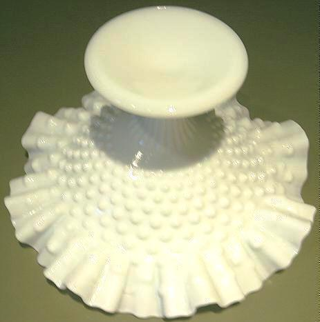Vintage Hobnail Milk Glass Ruffled Compote Possibly Fenton