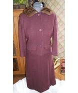 Vintage 60s dress Davidow designer wool suit fur collar  - $80.00