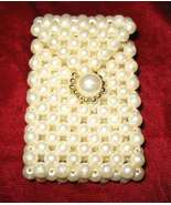 Cute Vintage Pearl & Gold Lipstick Pocket Purse Case - $18.50