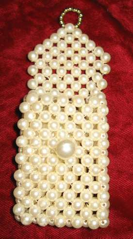 Cute Vintage Pearl & Gold Lipstick Pocket Purse Case