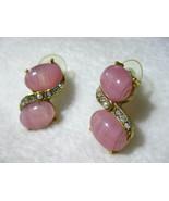 Pink Glass Cabochon & AB Rhinestone Pierced Ear... - $6.00