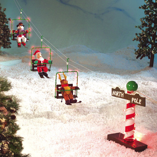 Animated ski lift santa with his friends reindeer snowman for Animated decoration