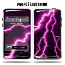 Vinyl Skin Decal for Apple iPod Touch  Purple Lightning - $4.88