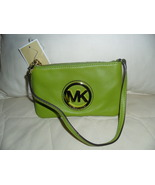 NWT Michael Kors Fulton Lime Green Leather Wristlet/Clutch/Handbag/Purse