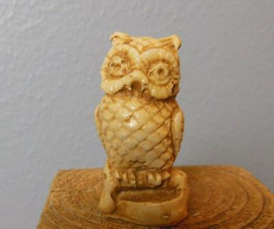 Resin and Bone  Owl   Figurine Made in Mexico ? 2.25""