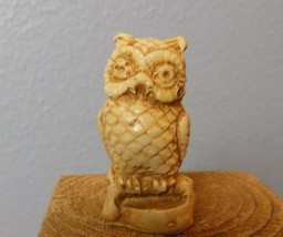 "Resin and Bone  Owl   Figurine Made in Mexico ? 2.25"" - $12.40"
