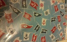 "Flannel Back Vinyl Tablecloth 52"" X 70"", Sea Flags, Anchors By Ap - $14.84"