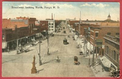 Fargo ND Postcard Broadway Business Stores 1919 BJs