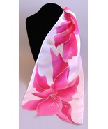 Flaxleaf Hand Painted Silk Scarf Pink Ladies Ob... - $65.00