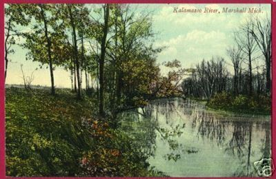 MARSHALL MICHIGAN Kalamazoo River MI Postcard