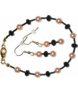 NEW Black Crystal Gold Glass Pearl Bracelet Ear... - $6.99