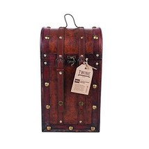 Chateau 2 Bottle Antique Wooden Wine Box by Twine – (Cherry Wood and Fau... - $17.39