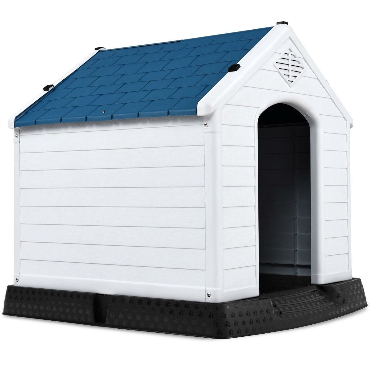Primary image for Small Outdoor Heavy Duty Blue and White Plastic Dog House
