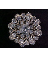 Vintage Light Blue Rhinestone Pin Brooch - $8.00
