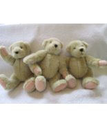 "Barbara Isenberg designs, three plush jointed bears, 8"", ,1982 NABCO - $35.00"
