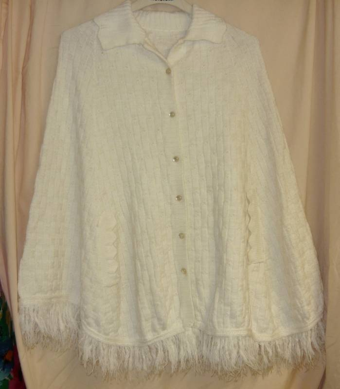 White Vintage Knit Button Up Cape -Med.