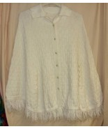 White Vintage Knit Button Up Cape -Med.  - $15.00