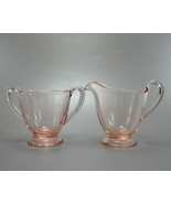 Fostoria Fairfax Rose Glass 3 ounce Sugar and Creamer Set - $6.99