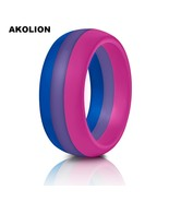 1PCS For Man New Silicone Bisexual Pride Ring Wedding Round Solid Comfor... - $10.22