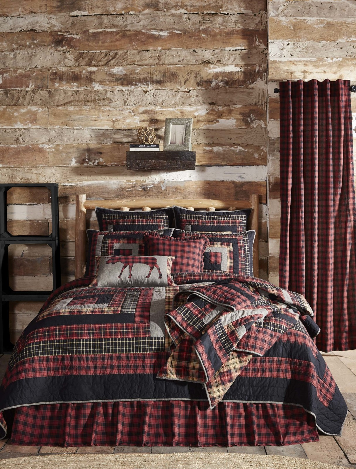 10-pc Cumberland King Quilt Set - Red Plaid Edition - Vhc Brands Rustic Charm