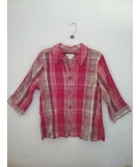 Christopher & Banks Textured Plaid 3/4 Sleeve Button-Down Blouse Size Large - $7.00