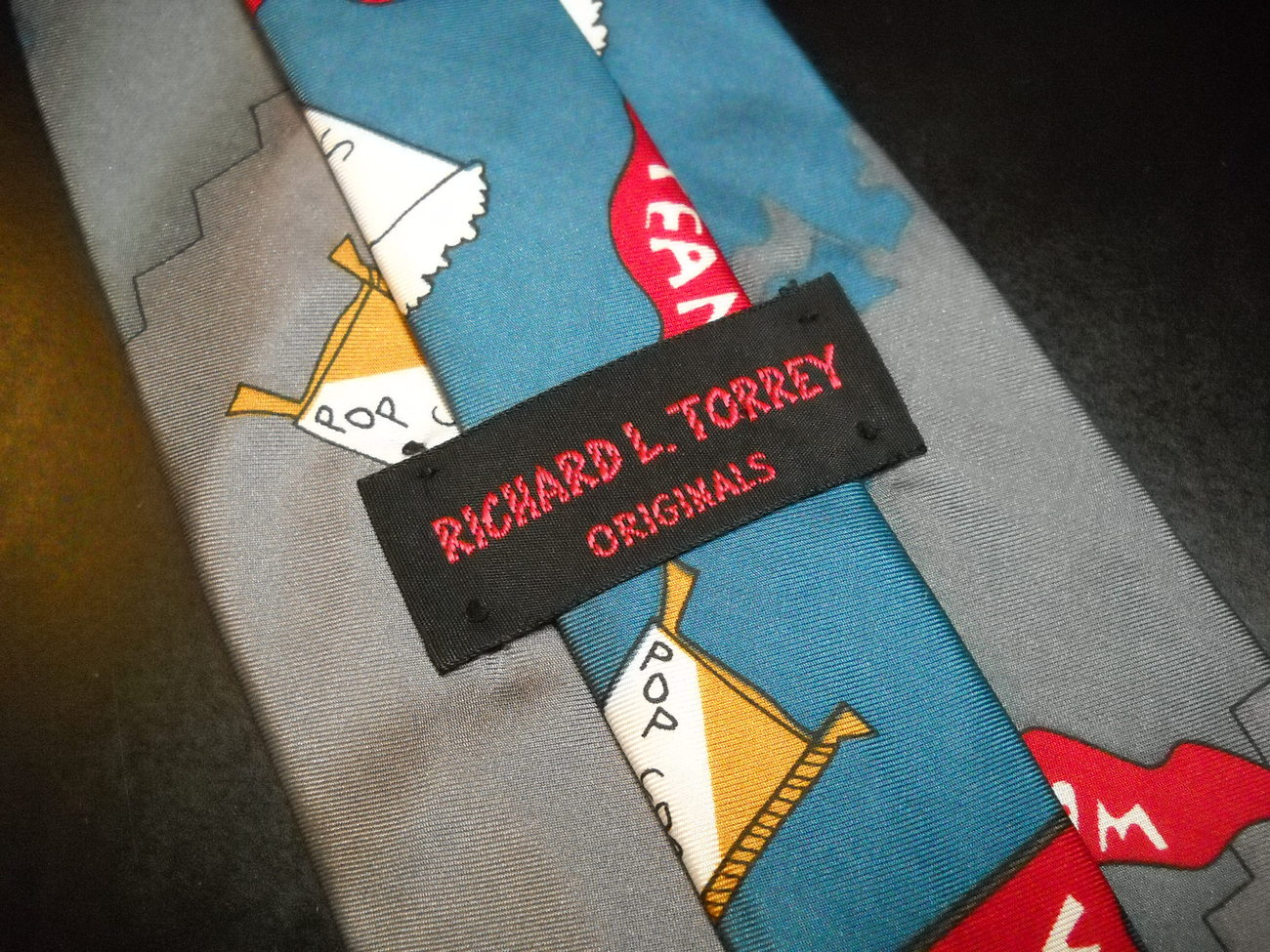 Richard L Torrey Originals Neck Tie Benchwarmers Doctor Rx Blues Italian Silk