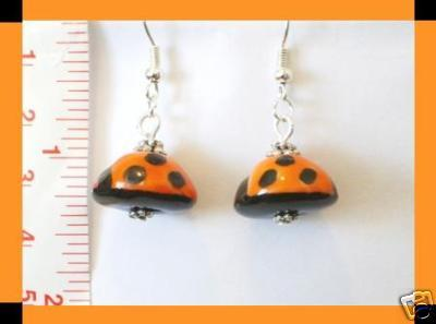Cute Lady Bug Porcelain Earrings