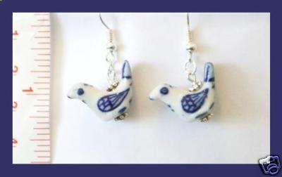 Blue & White Porcelain Dove Earrings