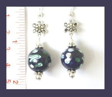 Gorgeous Porcelain Earrings with Tibetan Silver Accents