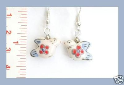 Peace Dove Flower Porcelain Earrings