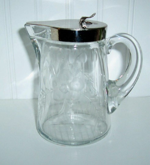 Heisey Etched Glass Syrup Pitcher / Pat. April 5,1910 - $65.00