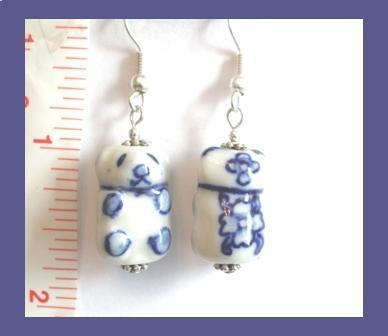 Blue & White Panda Bear Porcelain Earrings