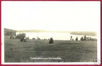 CEDAR SPRINGS MICHIGAN CAMP LAKE RPPC 1948 MI