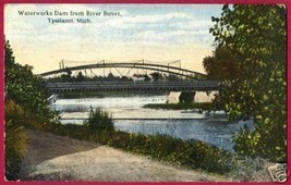 YPSILANTI MICHIGAN Waterworks Dam Fr River St 1921 MI - $7.50