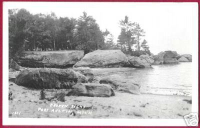 PT AUSTIN MICHIGAN Broken Rocks Port RPPC MI