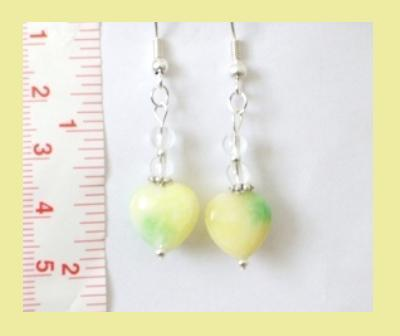 Yellow & Green Jade Heart & Crystal Quartz Earrings