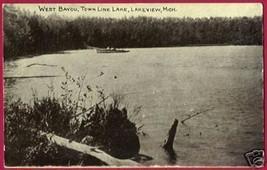 Lakeview Michigan Town Line Lake W Bayou Mi Postcard - $8.00