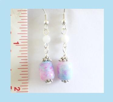 Soft Blue Pink Marble Iridescent Glass Earrings